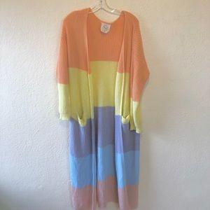 Oversized pastel rainbow cardigan M